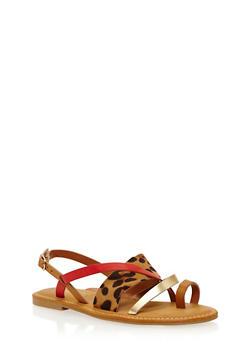 Strappy Toe Ring Sandals - LEOPARD MULTI - 3112004062529