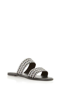 Rhinestone Studded Double Strap Slide Sandals - 3112004062530