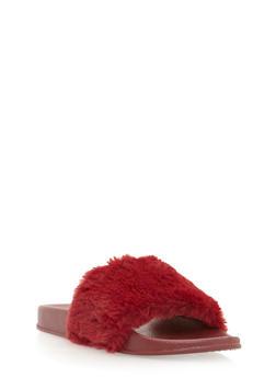 Single Strap Faux Fur Slides - BURGUNDY/BURGUNDY - 3112004062699