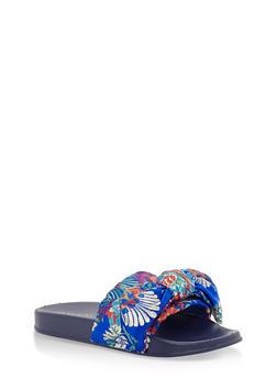 Satin Bow Slides - BLUE FABRIC - 3112004062700