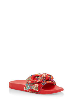 Satin Bow Slides - RED FABRIC - 3112004062700