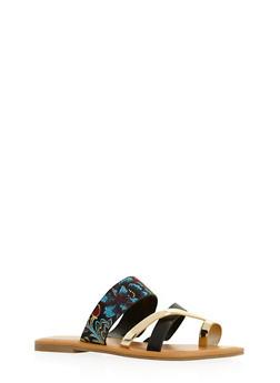 Toe Ring Strappy Slide Sandals - 3112004063383