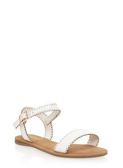 Lasercut Faux Leather Flat Sandals - 3112004064286