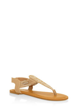 Studded Thong Sandals with Elastic Straps - 3112004067629