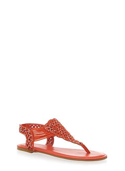 Faux Jewel Encrusted Laser Cut Sandals with Corded T-Strap - 3112004067682