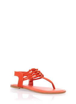 Thong Sandals with Cutout Loop Accent - 3112004067864