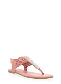 Studded Rhinestone Thong Sandals - 3112004067872