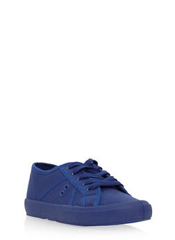 Lace Up Canvas Tennis Sneakers - NAVY CVS - 3112004069466