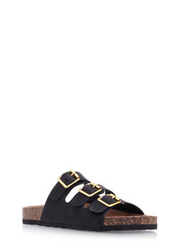 Three Buckle Strap Footbed Sandals - 3112057181601