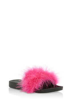 Furry Strap Slides - FUCHSIA - 3112061717277