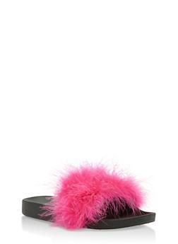 Furry Strap Slides - 3112061717277