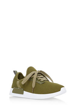 Lace Up Knit Sneakers - OLIVE - 3112062723464