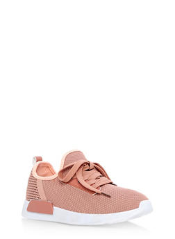 Lace Up Knit Sneakers - BLUSH - 3112062723464