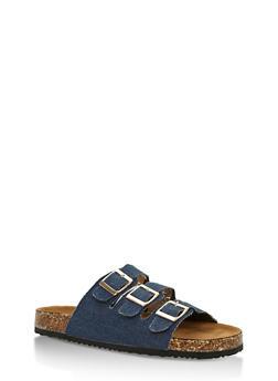 Triple Strap Cork Sole Slides - BLUE DENIM - 3112073541701
