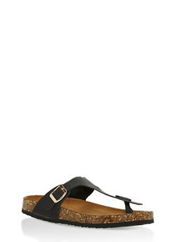 Cork Sole Thong Slide Sandals - 3112073541703