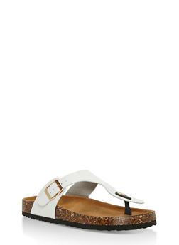 Cork Sole Thong Slide Sandals - WHITE - 3112073541703
