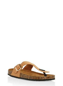 Cork Sole Thong Slide Sandals - 3112073541703