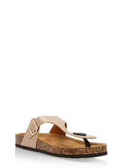 Cork Sole Thong Slide Sandals - ROSE GOLD MIRROR - 3112073541703