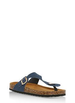 Cork Sole Thong Slide Sandals - BLUE DENIM - 3112073541703