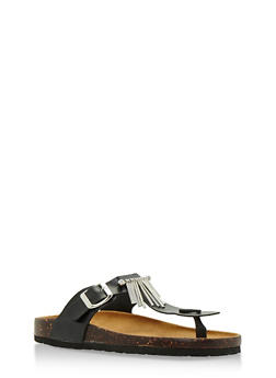 Footbed Thong Sandals with Metallic Fringe - 3112073541744