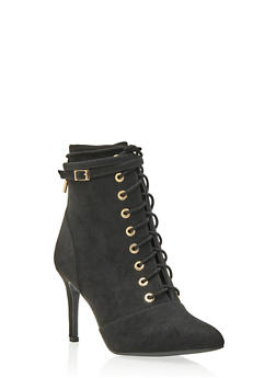 Faux Suede Ankle Boots with Lace-Up Front - 3113004062278