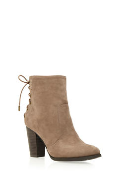 Faux Suede Ankle Boots with Lace-Up Back - 3113004062433