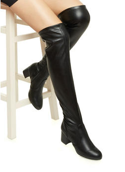 Faux Leather Over-the-Knee Boots with Round Toes - 3113004062889