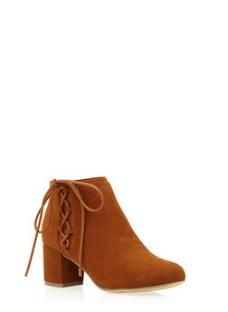Faux Suede Ankle Boots with Side Lace Accent - 3113004062890