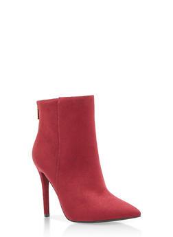 High Heel Booties with Back Zipper - 3113004063336