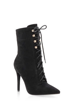 Lace Up High Heel Booties with Side Zipper - 3113004063337