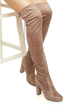 Faux Suede Over the Knee Boots with Cinch Top - 3113004064455