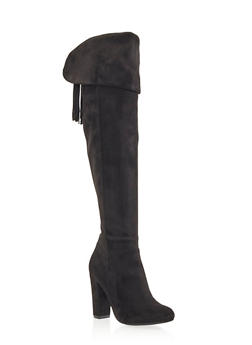 Over the Knee Boots with Lace-Up Tassel Back - 3113004064456