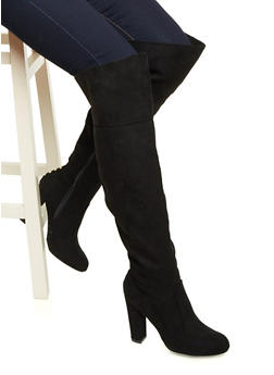 Faux Suede Knee-High Boots with Metallic Studs at Back - 3113004064458