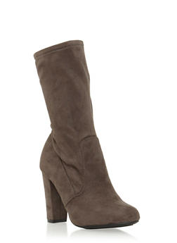 Faux Suede Mid-Calf Boots with Round Toes - 3113004064459