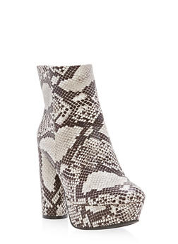 High Heel Platform Ankle Booties - WHITE SNAKE - 3113004064671