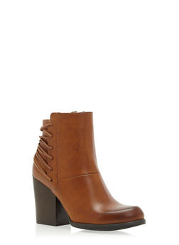 Faux Leather Ankle Boots with Fixed Lace Detailing - 3113004065243