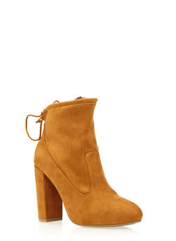 Faux Suede Ankle Boots with Cinch Top - 3113004066472