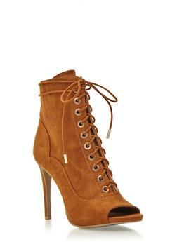 Faux Suede Ankle Boots with Lace-Up Front - 3113004066635
