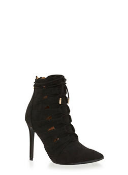 Faux Suede Ankle Boots with Triangle Cutouts and Lace-Up Front - 3113004067479