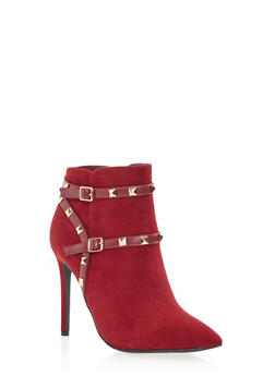 Faux Suede Booties with Goldtone Pyramid Stud Accents - 3113004067480