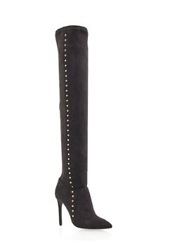 Faux Suede Over the Knee Boots with Goldtone Studs - 3113004067482