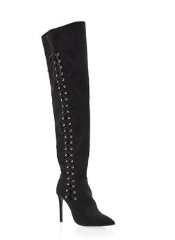 Lace-Up Thigh High Stiletto Boot with Pointed Toe - 3113004067483