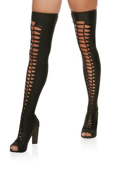 Laser Cut Twist Front Over the Knee Stretch Boots - 3113004067869