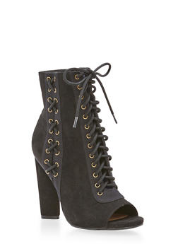Lace Up High Heel Booties - 3113004067873