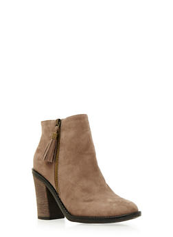 Faux Suede Ankle Boots with Tassel and Chunky Heels - 3113004067877