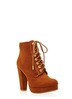 Faux Suede Platform Ankle Boots with Lace-Up Front - 3113004067949