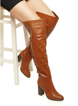 Faux Leather Knee-High Boots with Stacked Heels - 3113004068774