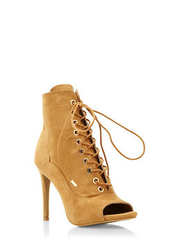 Faux Suede Lace-Up Ankle Boots with Open Toes - 3113014066635