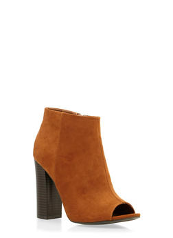 Faux Suede Peep-Toe Ankle Boots - 3113014067828