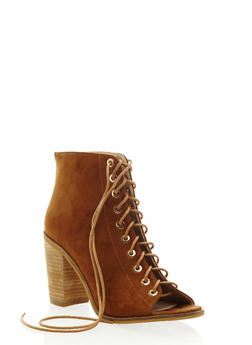 Peep Toe Lace Up Boots in Faux Suede - 3113057181605